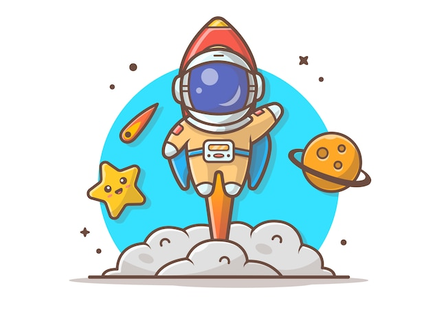 Симпатичный астронавт летит с ракетой, планетой и милой звездой