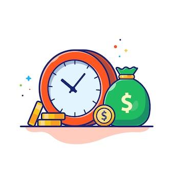 時間お金イラスト。時計、お金の袋、コインのスタック、ビジネスコンセプトホワイト分離