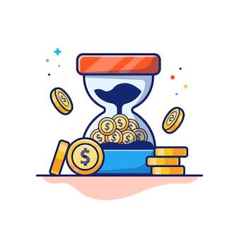 Время деньги иллюстрация. песочные часы и стопка монет