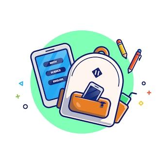 オンライン教育の図。バッグ、タブレット、鉛筆。教育アイコンコンセプトホワイト分離。