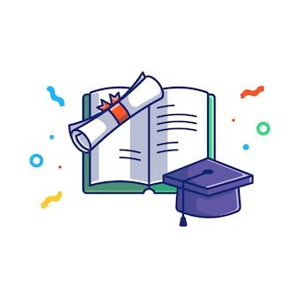 卒業イラスト。卒業の帽子と本。分離された教育コンセプトホワイト