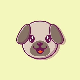 かわいい犬の顔のイラスト。犬の顔の品種。分離された動物の概念