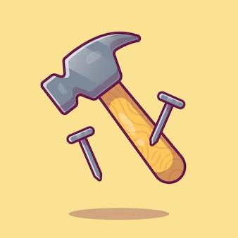 Молоток и гвоздь иллюстрации. рабочие инструменты оборудование.