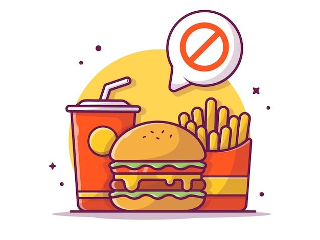 健康的なダイエットプログラムの警告は、ハンバーガー、フライドポテト、ソーダ、分離された白図を食べてはいけない