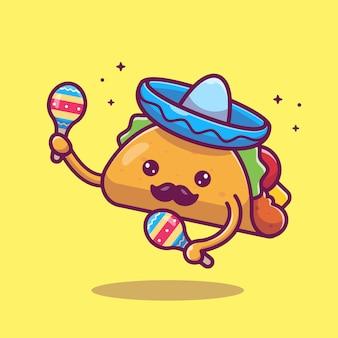タコス口ひげマスコット漫画イラスト。かわいいタコスキャラクターとマラカ。分離された食品のコンセプト
