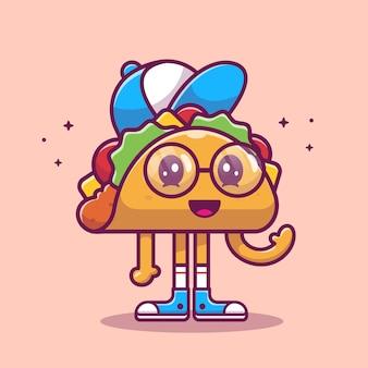 タコスマスコット漫画イラスト。かわいいタコスキッドキャラクター。分離された食品のコンセプト