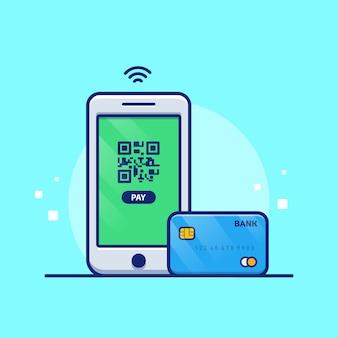 Иллюстрация онлайн-платежей. мобильный телефон с дебетовой картой. изолированная концепция технологии
