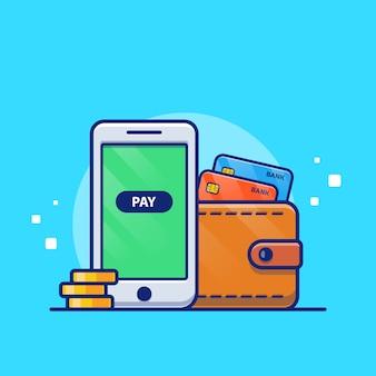 Иллюстрация онлайн-платежей. мобильный телефон с дебетовой картой и кошелек. изолированная концепция технологии