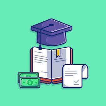 Иллюстрация стипендии. выпускной колпачок, книга и деньги.