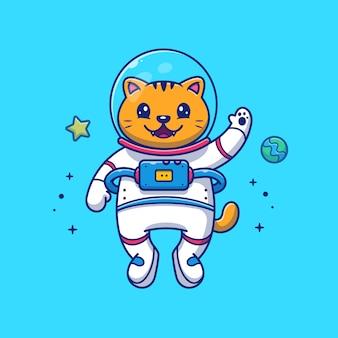 宇宙飛行士の猫のイラスト。