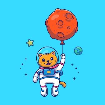バルーンアイコンイラストで飛ぶ宇宙飛行士猫。マスコットの漫画のキャラクター。