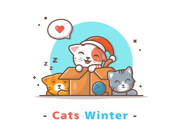 Милые кошки зимний сезон