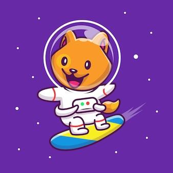 銀河アイコンイラストで宇宙飛行士猫サーフィン。マスコットの漫画のキャラクター。分離された動物アイコンコンセプト