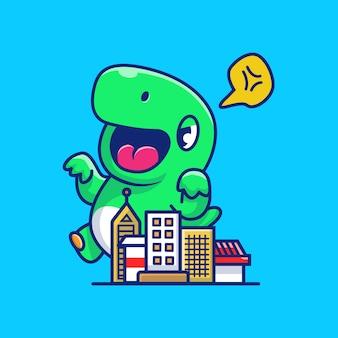 Злой динозавр уничтожить город значок иллюстрации. динозавр талисман мультфильма. животное иконка концепция изолированные