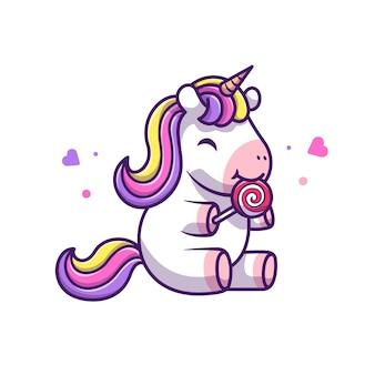 かわいいユニコーンは、ロリポップアイコンイラストを食べる。ユニコーンマスコットの漫画のキャラクター。分離された動物アイコンコンセプトホワイト