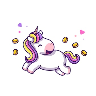 Симпатичные единорог с монетами иконка иллюстрация. единорог талисман мультипликационный персонаж. концепция животных значок белый изолированный