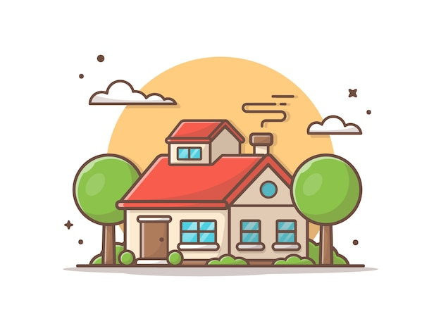 Красивый дом с облаками и деревьями. иконка иллюстрация