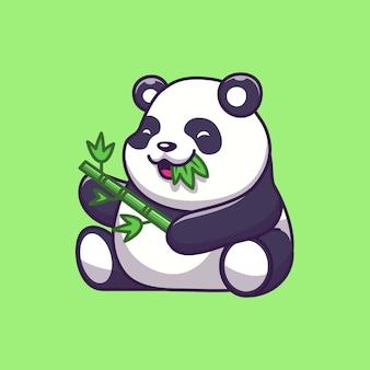 Симпатичные панда есть бамбука значок иллюстрации. панда талисман мультипликационный персонаж. животное иконка концепция изолированные