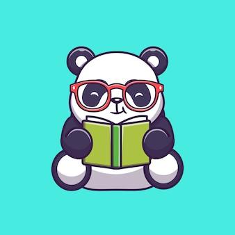 Симпатичные панда, чтение книги значок иллюстрации. панда талисман мультипликационный персонаж. животное иконка концепция изолированные