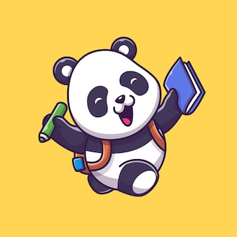 Симпатичные панда изучения значок иллюстрации. панда талисман мультипликационный персонаж. животное иконка концепция изолированные