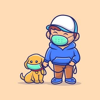 犬を持つ人々は、マスクの図を着用します。コロナマスコットの漫画のキャラクター。分離された人々の概念