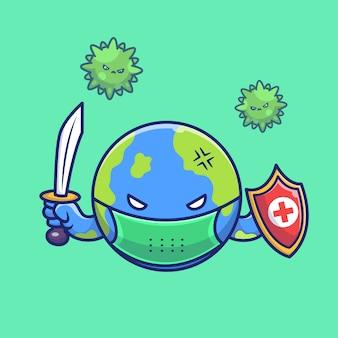 ワールドファイトコロナウイルスの図。コロナマスコットの漫画のキャラクター。分離された世界の概念