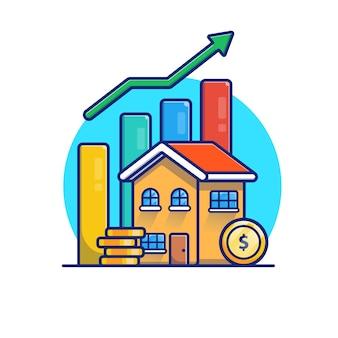 ゴールドコインの統計図のある家。不動産投資のコンセプト。白い建物の分離