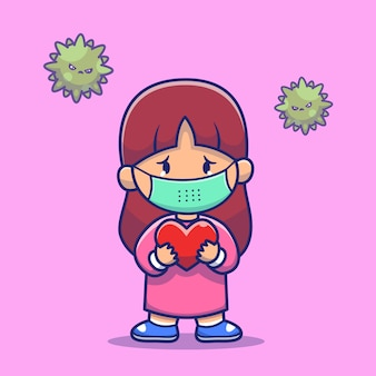 Девушка держит сердце носить маску значок иллюстрации. корона талисман мультипликационный персонаж. люди иконка концепция изолированные