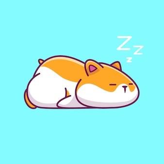 怠惰なハムスター眠っているアイコンイラスト。ハムスターのマスコットの漫画のキャラクター。分離された動物アイコンコンセプト