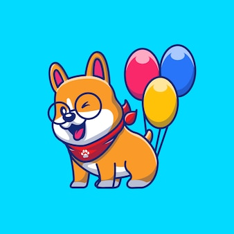 Симпатичные корги с воздушными шарами значок иллюстрации. корги талисман мультипликационный персонаж. животное иконка концепция изолированные