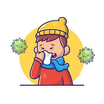 Мальчик с иллюстрацией значка лихорадки и гриппа. корона талисман персонажей мультфильма. человек иконка концепция белый изолированные
