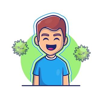 強い免疫アイコンイラストを持つ少年。コロナマスコットの漫画のキャラクター。分離された人アイコンコンセプトホワイト