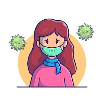 マスクアイコンイラストを着ている少女。コロナマスコットの漫画のキャラクター。分離された人アイコンコンセプトホワイト