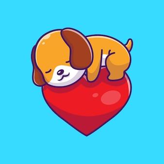 アイコンイラストを眠っているかわいい犬。子犬犬のマスコットの漫画のキャラクター。分離された動物アイコンコンセプト