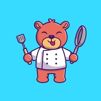 Мишка кулинария иконка иллюстрация. шеф-повар медведь талисман мультипликационный персонаж. животное иконка концепция изолированные