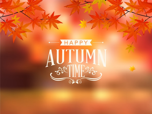 幸せな秋のタイポグラフィベクトル