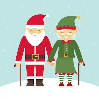 Пожилая пара в рождественских костюмах