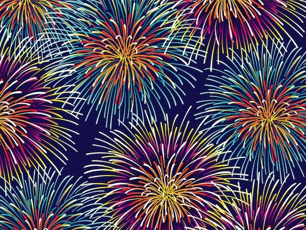 カラフルな花火のベクトルの背景