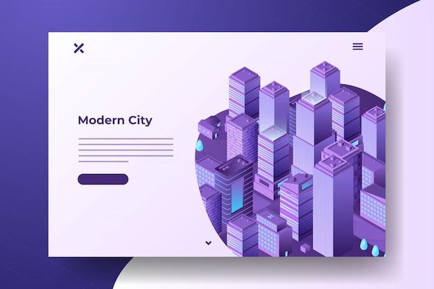 Изометрические современный город баннер