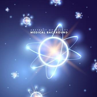 抽象的な明るいネオンの原子的背景