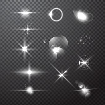 シルバーキラキラ光のバーストストリークとフレアコレクション