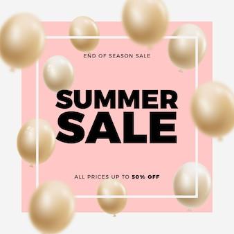 エレガントな夏の販売バルーンの背景