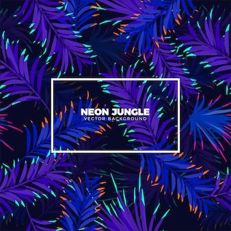Неоновый джунгли тропический фон
