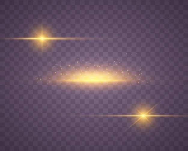 Желтый свет сверкающие частицы пыли. яркая звезда.
