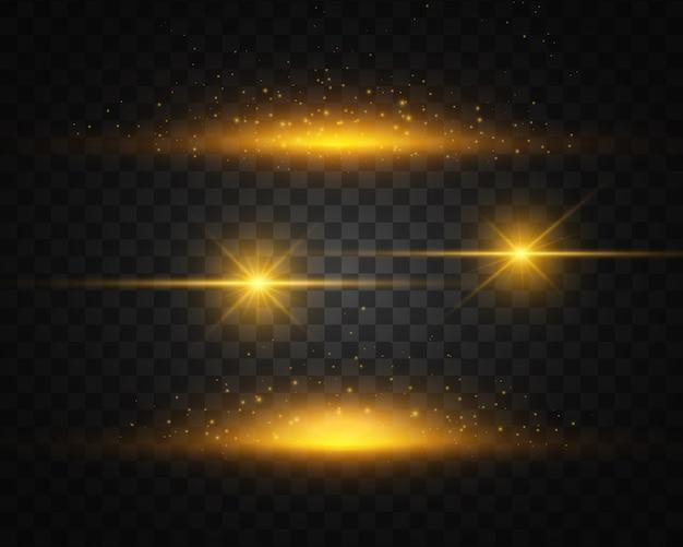 Набор желтый, золотой светящийся свет взрывается. световой эффект