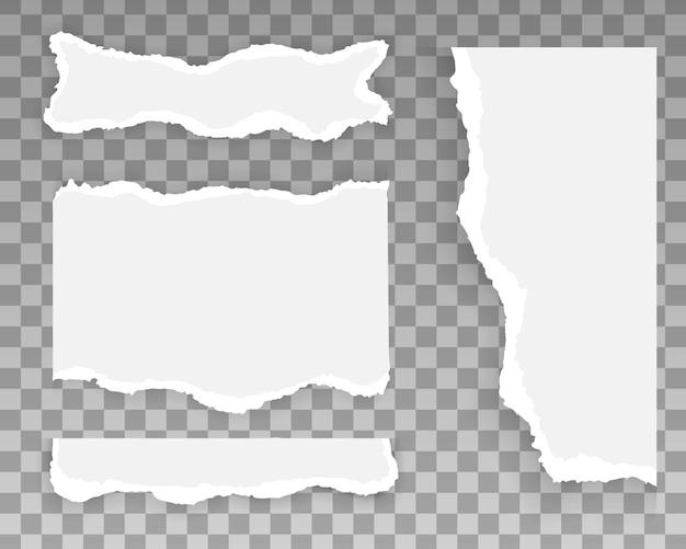破れた紙のストライプ、破れた部分のセット。テキストのためのスペースを持つ白とグレーの現実的な水平紙片。