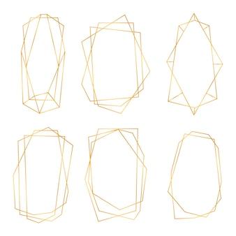 黄金の幾何学的なフレーム。黄金の多角形の豪華なフレームのコレクション。ウェディングカード、招待状、ロゴ、本の表紙、芸術の装飾、ポスターの幾何学的な多面体のデザイン。図