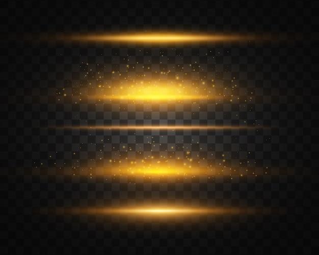 黄色のセット、ゴールドの輝く光が透明度で爆発します