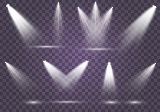 舞台照明用のサーチライトコレクション、光透過効果。スポットライト付きの明るく美しい照明。分離した白いスポットライトのセットです。