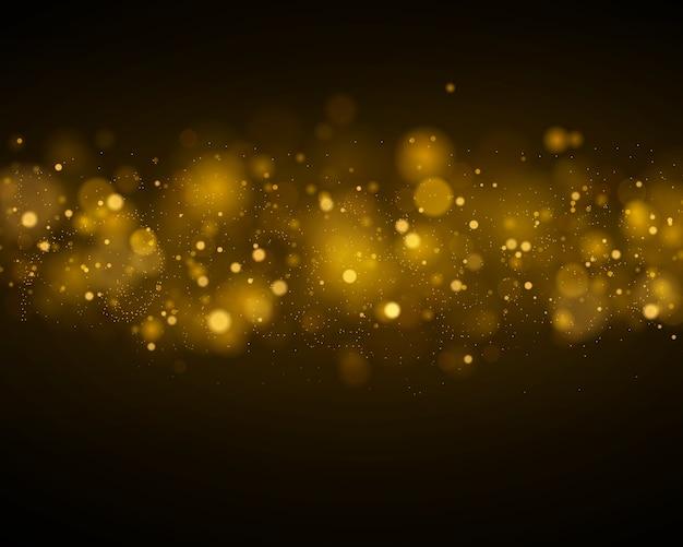 Легкие абстрактные светящиеся огни боке. боке световой эффект, изолированные на черном прозрачном фоне. праздничный фиолетовый и золотой светящийся фон.